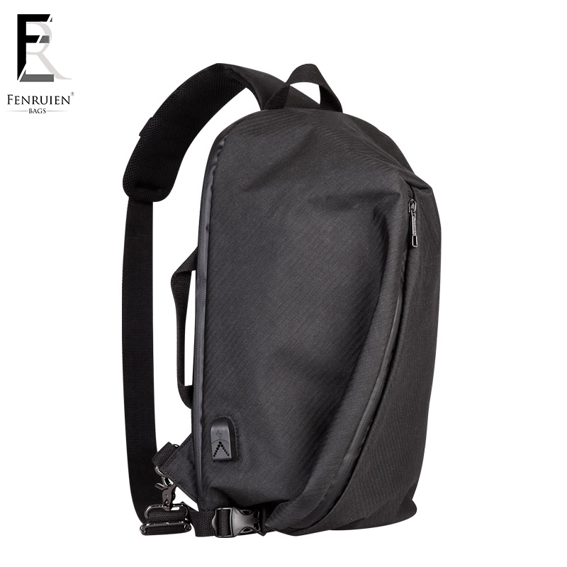 FRN Casual Irregular Chest Pack Men Casual Shoulder Crossbody Bag USB Chest Bag Water Repellent Travel Messenger Bag Male laptop nigeer men chest bag casual shoulder