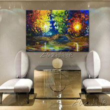 Hand painted Canvas Oil painting Wall Pictures for Living room wall decor art canvas painting palette knife landscape 7