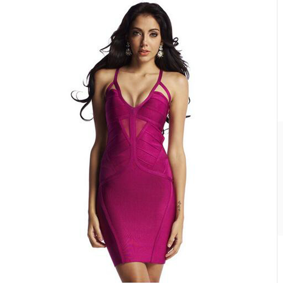 New women sexy V-Neck backless purple dress knitted elastic bandage 2016 bodycon designer Spaghetti Strap dress clubwear цена
