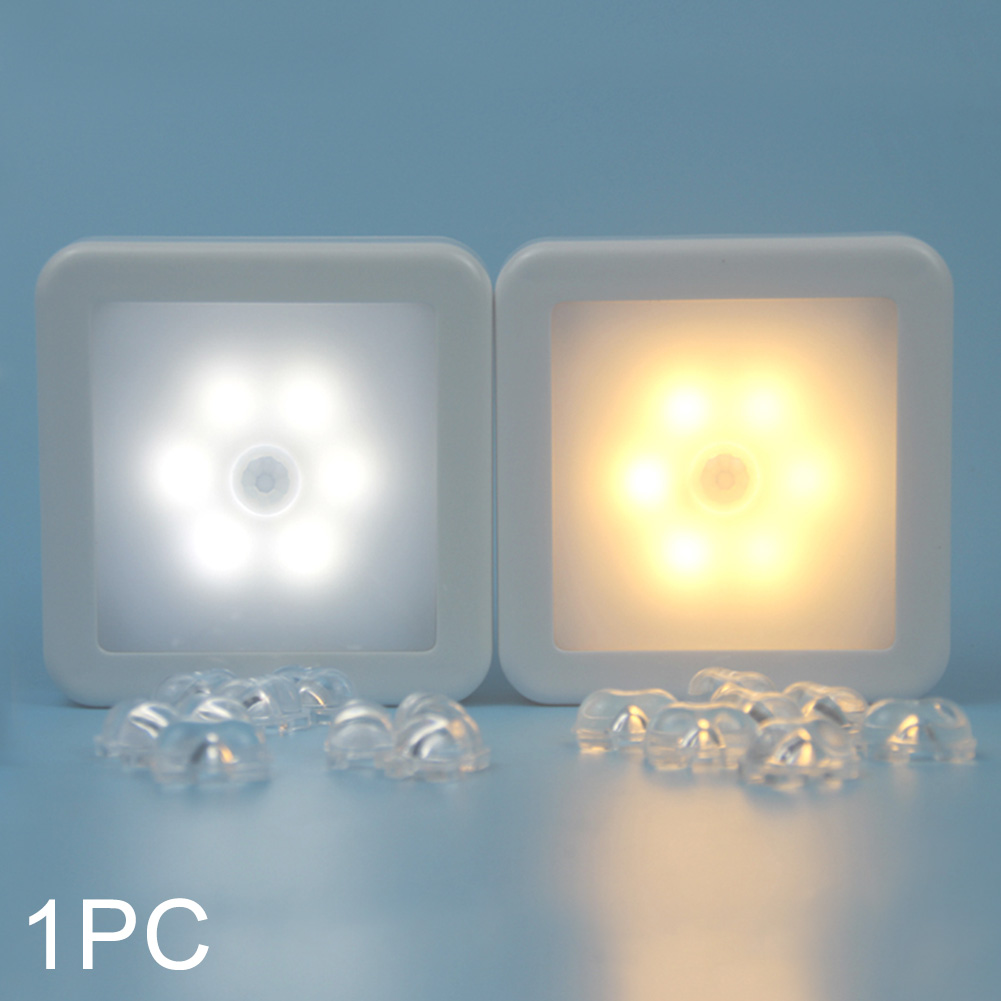Cabinet Battery Powered Night Light Auto On Off Square Stair PIR Motion Sensor Led Wireless Smart Lamp Bedroom