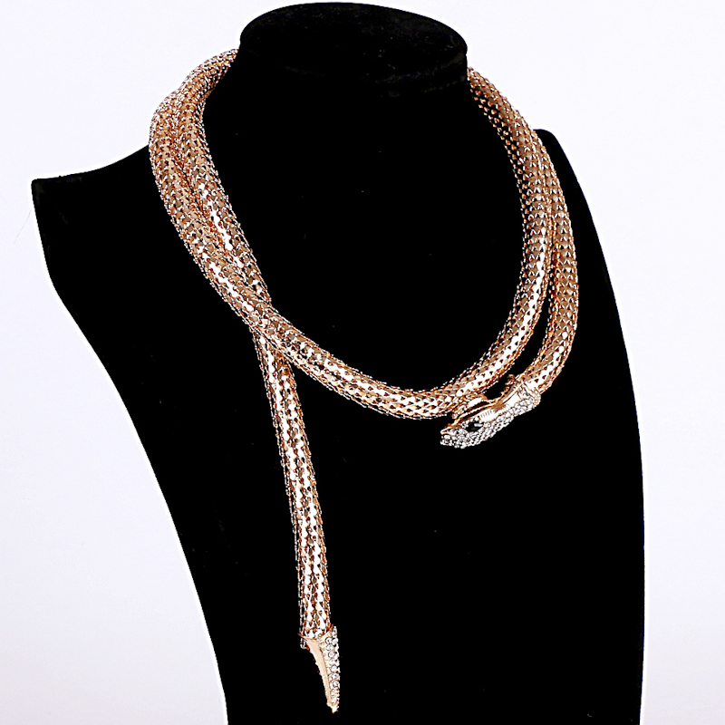 2017 Real Collares Maxi Necklace High Quality Gold/silver Plated Snake Necklace Choker for Women Collier Femme Bijoux Jewelry
