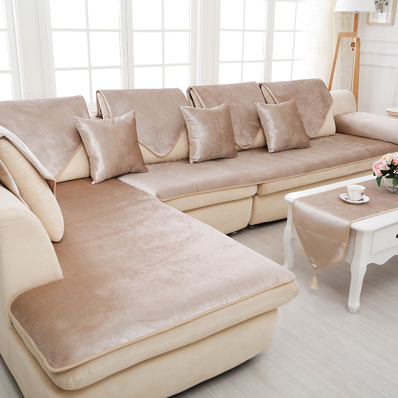 winter Plush sofa cushion Velvet fabric sofacover Four ...