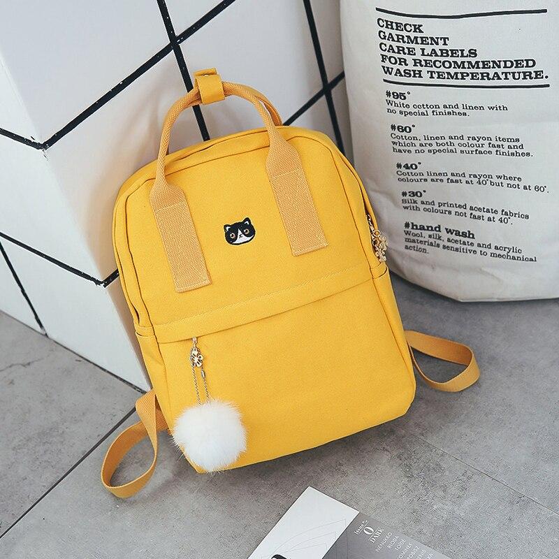 Women Backpack for School Teenagers Girls Vintage Stylish School Bag Ladies Canvas Fabric Backpack Female Bookbag Mochila 1574