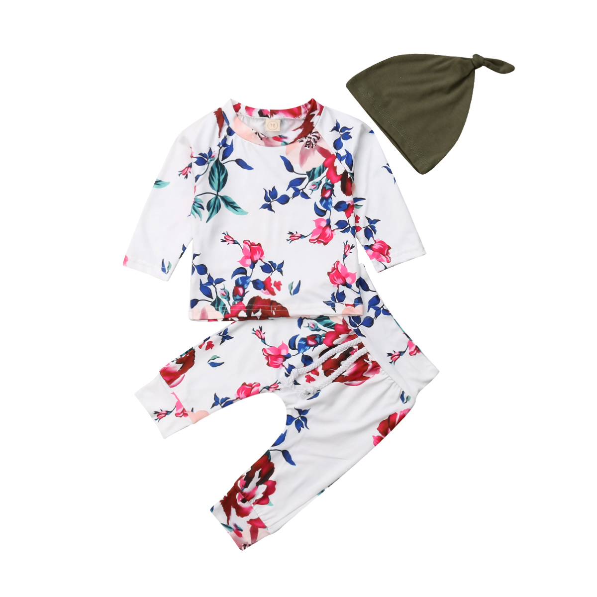 Baby Girl Floral Tops T-shirt Pants Leggings 3Pcs Outfits Autumn Clothes