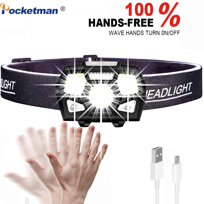 7000 Lumen LED Headlamp Motion Sensor Ultra Bright Hard Hat Head Lamp Powerful Headlight USB Rechargeable Waterproof Flashlight