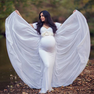 Image 3 - Maternity Photography Props Dress with Cape Stretchy Baby Shower Long Dress Pregnancy Dress Maternity Dress For Photo Shoot