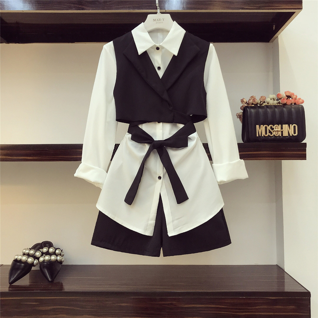 2018 Autumn Women Ol Three Piece Set New Lapel White Long Shirt + Tie Bow Vest + High Waist Shorts Women 3 Piece Sets