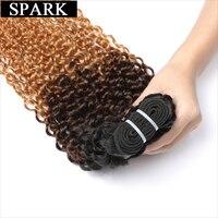 Spark 3 Tone Ombre Braziliaanse Kinky Krullend Haar Weave Bundels T1b/4/27 100% Menselijk Haarverlenging 1 ST blonde Remy Haar Weven