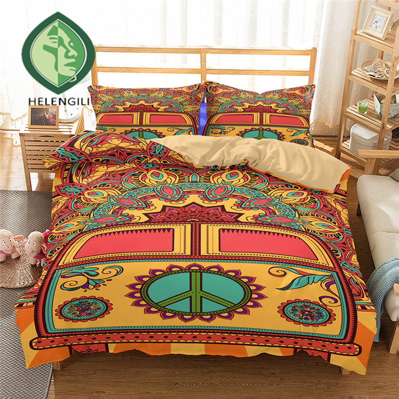 HELENGILI 3D Bedding Set Peace Hippie Print Duvet Cover Set Lifelike Bedclothes With Pillowcase Bed Set Home Textiles #2-02