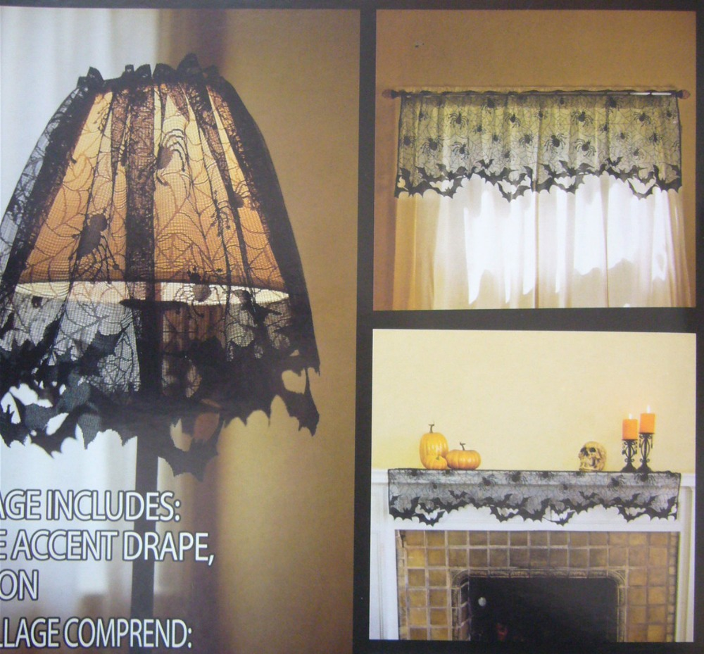 Halloween Decoration 1 Piece Black Lace Spiderweb Fireplace Mantle Scarf  Cover Curtains Shades Festive Party Supplies60*20inch
