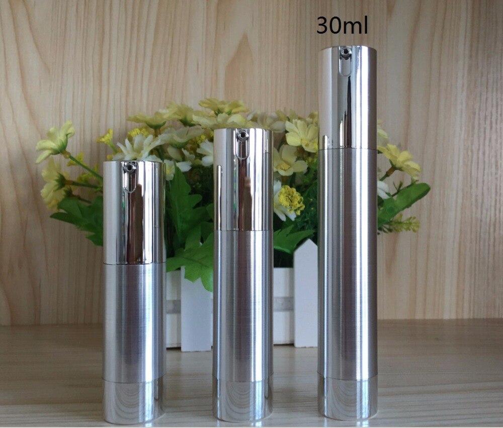 30 ml schlanker form silber airless flasche mit UV silber pumpe und unten, lotion flasche für Kosmetik Container-in Nachfüllbare Flaschen aus Haar & Kosmetik bei  Gruppe 1