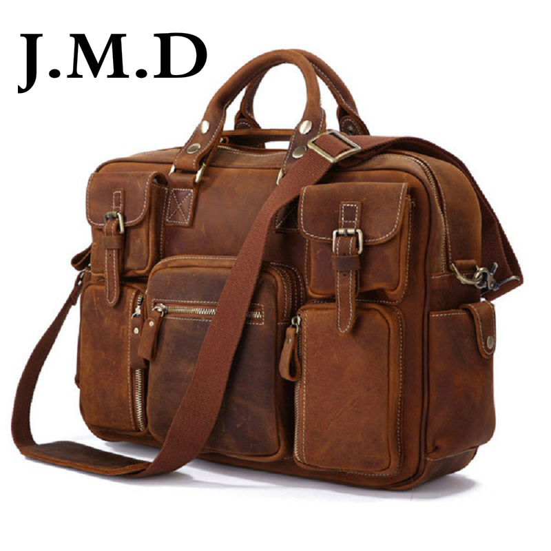 J.M.D Hot Selling 100% Genuine Leather Rare Crazy Horse Leather Men's Briefcase Laptop Bag Tote Bag Shoulder Messenger Bag 7028 puzzle 1000 найди 10 львов 79807
