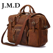 J.M.D Hot Selling 100% Genuine Leather Rare Crazy Horse Leather Men's Briefcase Laptop Bag Tote Bag Shoulder Messenger Bag 7028
