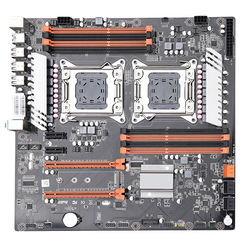 X79 Dual Cpu Lga2011 Motherboard Support For Dual Intel E5 2689 2670 Ddr3 1333/1600 / 1866Mhz 256Gb M.2 Nvme Sata3 Usb3.0 E-At