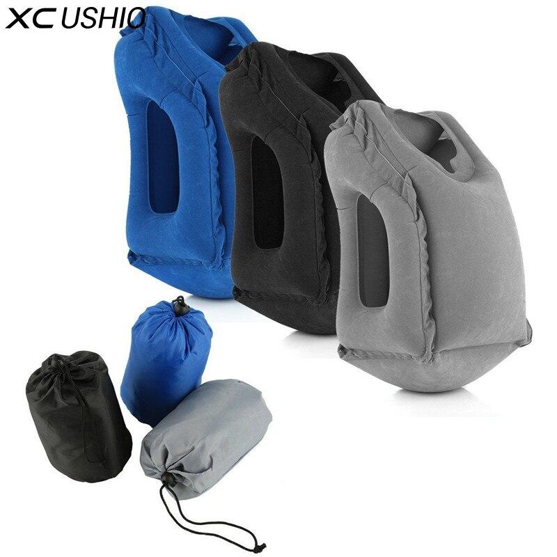 XC USHIO Inflável Travesseiro De Viagem Travesseiro De Ar Suave Almofada de Viagem Portátil Produtos Inovadores Corpo Back Support Portátil Sopro Pescoço Travesseiro