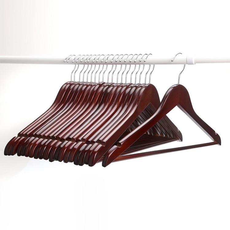 Hangerlink Multifunctional High Grade Solid Wooden Suit Hangers Coat Hangers Walnut Finish 12 pieces lot