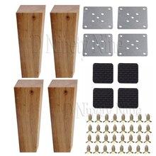 150x58x38 MM meubles en bois armoire jambe Angle droit trapézoïdal pieds Lifter remplacement pour canapé Table lit ensemble de 4