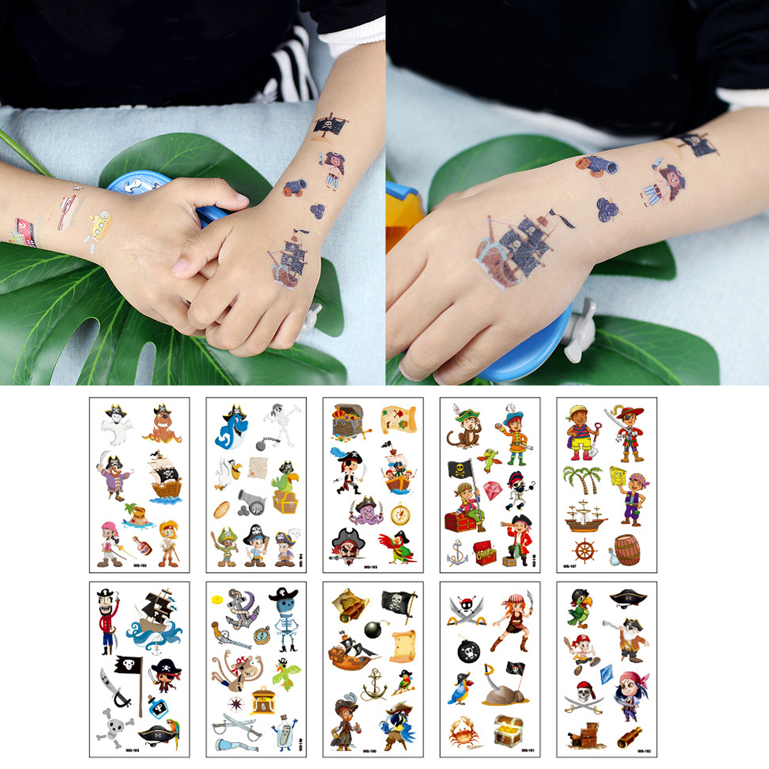 Behogar 10 Sheets Waterproof Pirate Theme Party Temporary Tattoo Stickers For Kids Children Birthday Festival Daily Playing