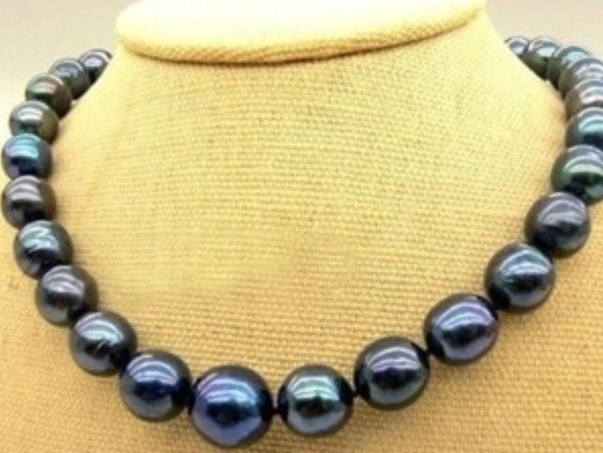 Women Gift word Love Shipping >>>>>New 10-11mm real Black Natural Pearl Necklace 18 AAA+ women gift silver-jewelry