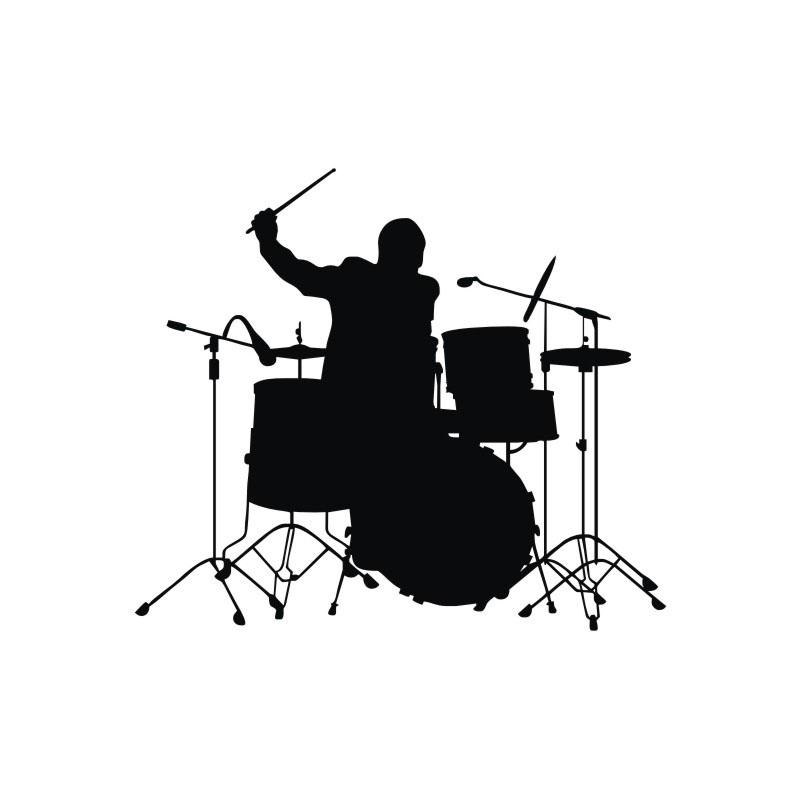 Drummer Playing Drum Wall Stickers Home Decor Vinyl Wall Decals Kids Rooms Removable Adhesive Wallpaper in Wall Stickers from Home Garden