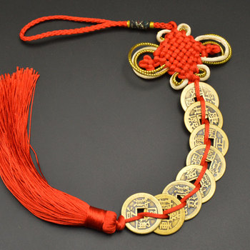 Chinese manual Knot Fengshui Lucky Charms Ancient I CHING Copper Coins Mascot Prosperity Protection Good Fortune Home Car Decor 17