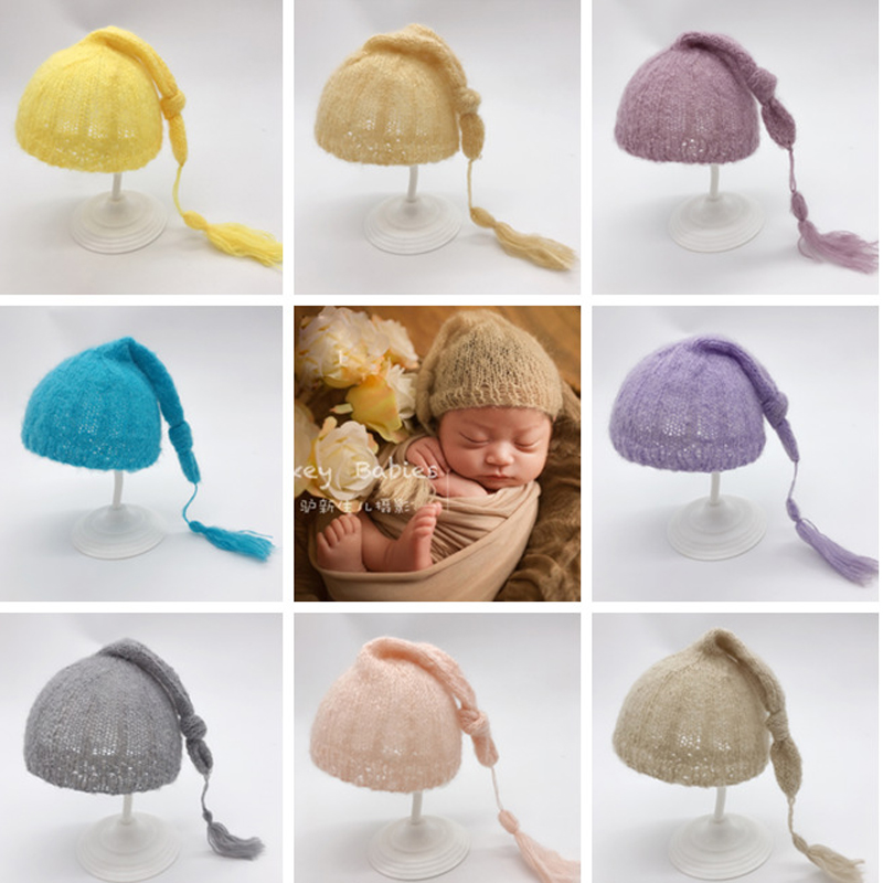 Baby Mohair Beanie Baby Caps Photo Boys Girls Muts Photo Props Accessories Baby Hats Newborn Photography Props Chapeau Enfant Y