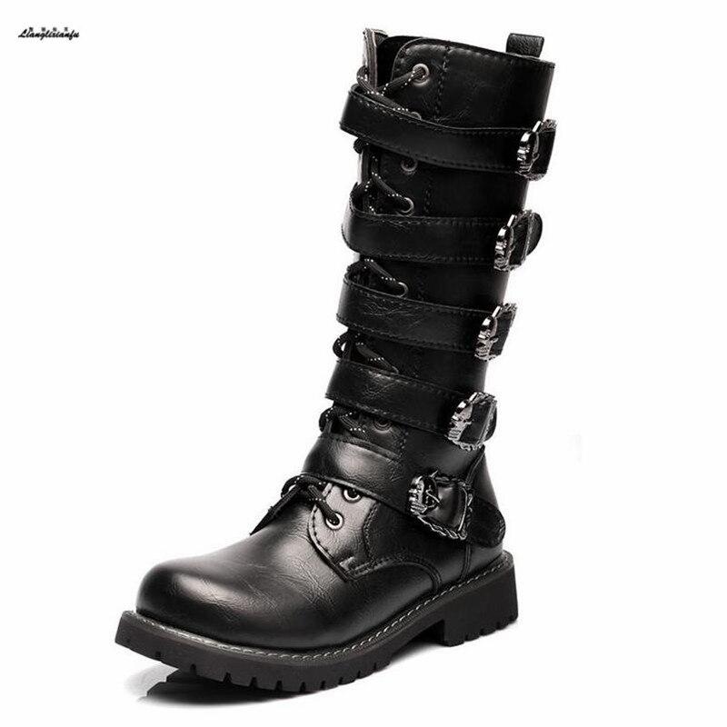 dc82e76a26694 Plus 38-44 45 winter Fashionable male boots Belt buckle Men s Shoes  Military Boots