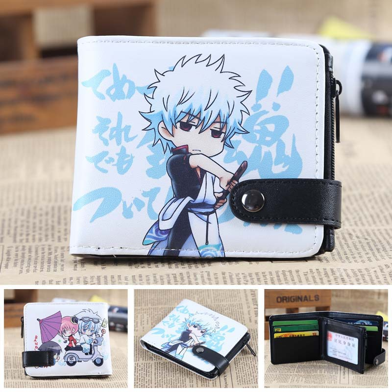 GINTAMA Anime wallet Leather pu short Bifold Purse Cosplay Wallet anime fate stay night coin wallet cosplay men women bifold purse
