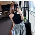 5 Colors Plus Size Summer Crop Top 2016 New Sexy Vest Cross Halter Strapless Knit Tank Tops Women Cropped Feminino  High Quality