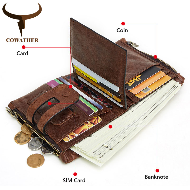 COWATHER 2019 Men Wallet Cow Genuine Leather Wallet New Arrival Cowhide Male Purse Big Capacity Short Men Purse Free Shipping