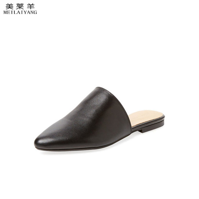 93c9946452d Fashion faux leather pointed toe mules women casual flats-in Women s ...