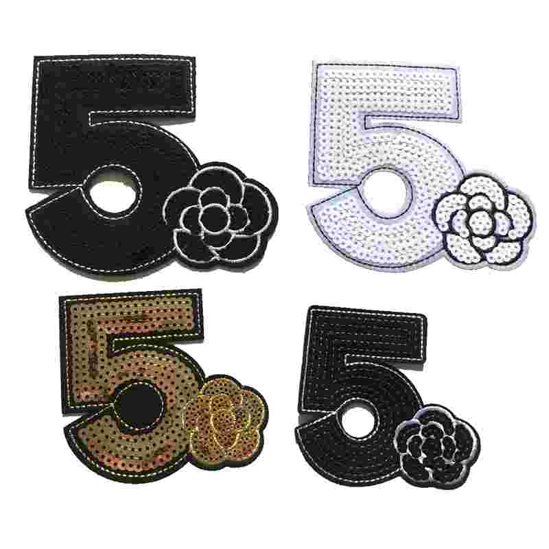 2pcs Iron On Patches Clothes DIY 5 With Flower Sequined Patches For Clothing Sequins Stickers Sewing Patches Decoration