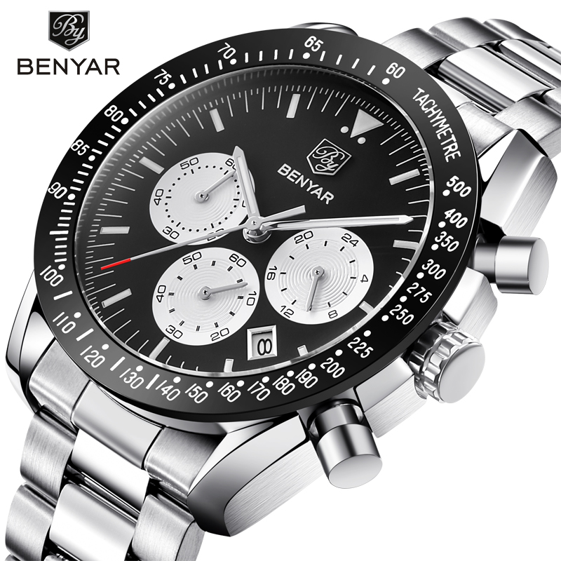 BENYAR Sport Chronograph Fashion Watches Men Full Stainless Steel Band Waterproof Luxury Brand Quartz Watch Clock Reloj Hombre все цены