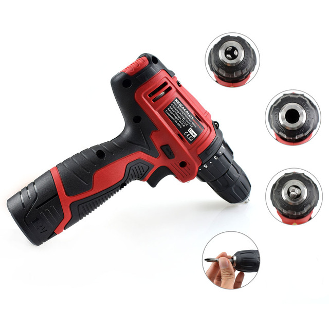 NEWACALOX 10.8V Household Cordless Drill Lithium Li-ion Battery Electric Drill Screwdriver 1