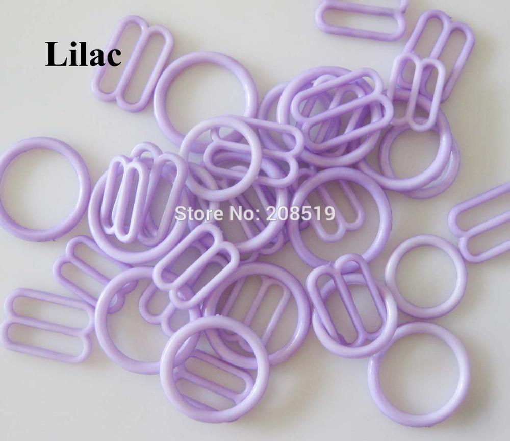 NBNLAE 100 шт. пряжки для бюстгальтера(50 шт. уплотнительное кольцо+ 50 шт. 8 слайдеров) красочные пластиковые пряжки нижнее бельё с пуговицами аксессуары - Цвет: lilac as show