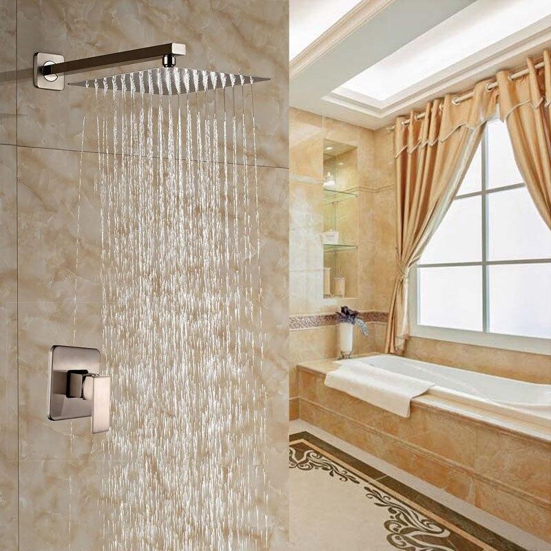 Creative Design Brushed Nickle Bathroom Shower Set Wall Mounted Single Lever Bath Rainfall Shower Units free shipping wall mounted brushed nickle led light showerhead with shower arm 8 10 12 inch