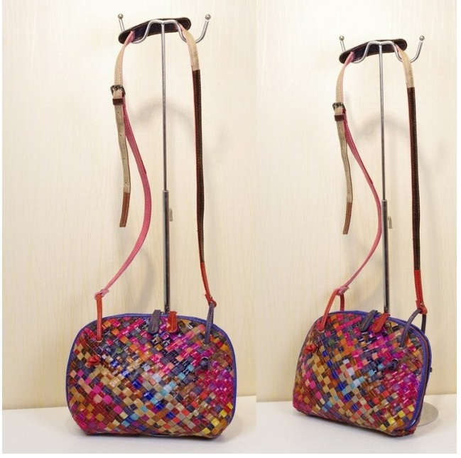 Customize leather bag fashion multi-color handmade braided handbag cross-body women's genuine leather small leather bag metting joura vintage bohemian ethnic brown seed beads braided knitted flower handmade elastic belt body jewelry