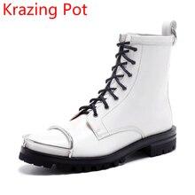 2018 Пояса из натуральной кожи ручной работы модная зимняя обувь из металла до середины икры Сапоги и ботинки для девочек ковбойские ботинки взлетно-посадочной полосы толстом среднем Каблучки мотоботы L86