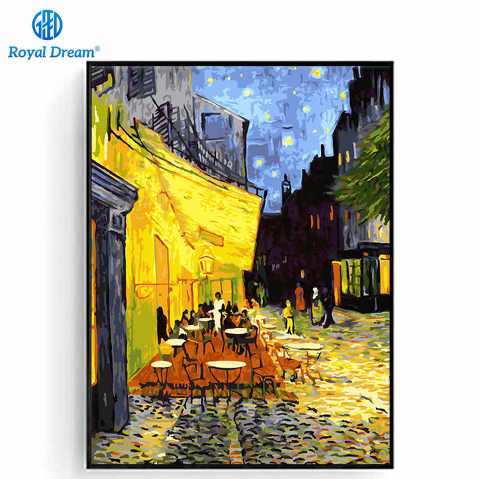 World Famous Oil Painting By Numbers On Canvas The Cafe Terrace on the Place du Forum Arles at Nigh By Vincent Van Gogh