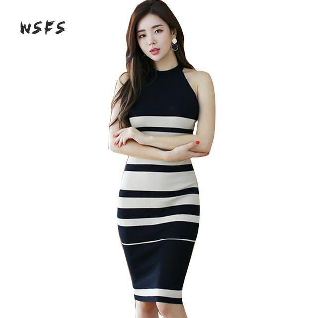 93aaab58be US $23.29 38% OFF Summer White Black Striped Dresses Halter Sleeveless  Dress Women Office Bodycon Bandage Sexy Party Midi Pencil Sundress  Vestidos-in ...