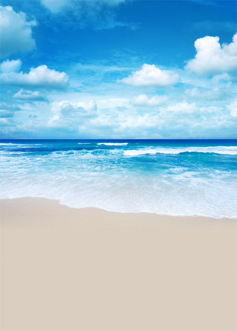 Customize Vinyl Blue Sky White Clouds Sea Beach