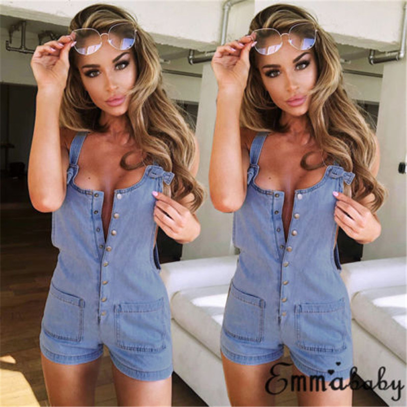 2019 New Denim Playsuits Sexy Women Sleeveless Backless Mini Playsuit Lady Summer Fashion Casual Beach Shorts Jumpsuit