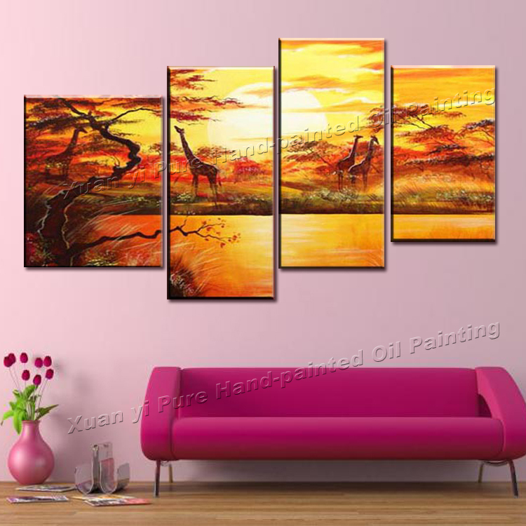 Handmade 4 piece Landscape Oil Painting On Canvas Wall Art Beautiful African Scenery Sunset Giraffe Pictures For Living Room