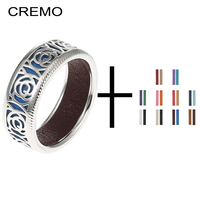 c6f77a8dd529 Cremo Rose Flower Argent Ring Reversible Leather Bands Set Round Rings  Woman Hollow Elegant Simple Joint