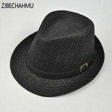 Fashion Vintage Solid Straw Unisex Women Men SummerTrendy Beach Sun Panama Jazz Hat Cowboy Fedora hat Gangster Cap