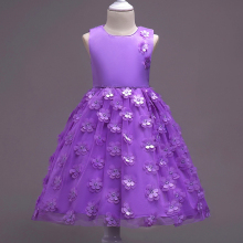 New baby girl Princess Dress pure color small flowers sleeveless sweetness wedding hosting birthday party 3-8T summer style