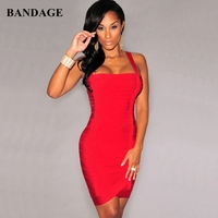 Leger Babe Summer New Red Mini Women Bandage Dress Spaghetti Straps Fashion Cocktail Night Party Vestidos Sleeveless