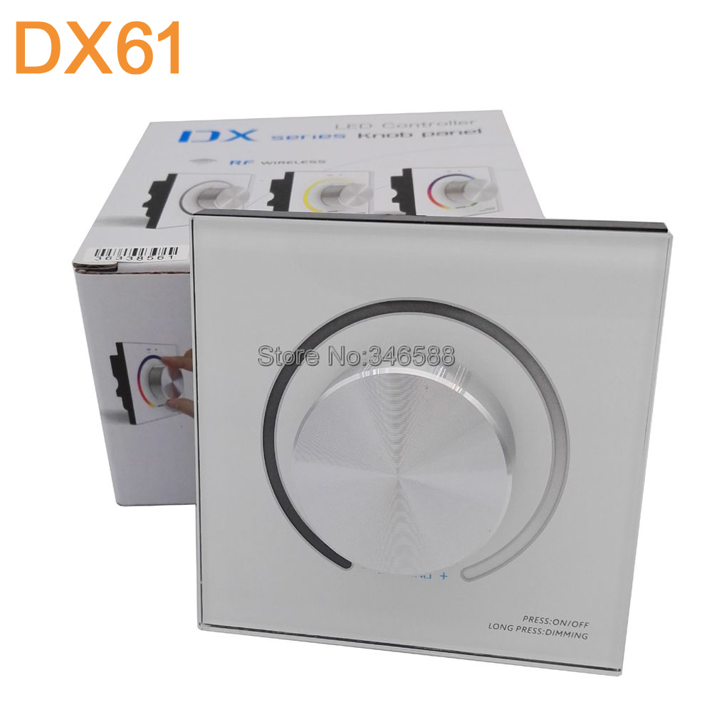 AC110V-240V DX61 Wall Mount 2.4G RF Wireless LED Sync Controller Dimmer with Knob Switch DMX512 Signal Ouput ac110v 240v dx62 wall mount 2 4g rf wireless led sync cct color temperature controller dmx512 signal ouput for dual white strip