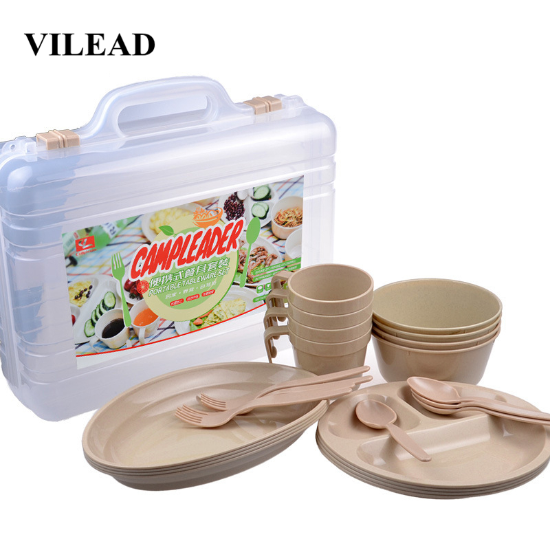 VILEAD 24 pcs Picnic Dishes Set Portable Outdoor Tableware Camping BBQ Travel Plastic Reusable Picnic Set Cup Spoon Fork Plate-in Outdoor Tablewares from Sports & Entertainment