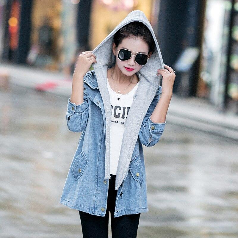 c42a85d560 ACEMIRIZ Blue Hooded Drawstring Boyfriend Trends Jean Swish Pockets Two  Piece Outerwear Women Denim Buttons Coat Jackets AWC0003-in Basic Jackets  from ...